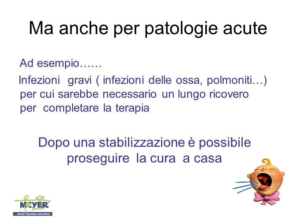 Ma anche per patologie acute Ad esempio…… Infezioni gravi ( infezioni delle ossa, polmoniti…) per cui sarebbe necessario un lungo ricovero per completare la terapia Dopo una stabilizzazione è possibile proseguire la cura a casa