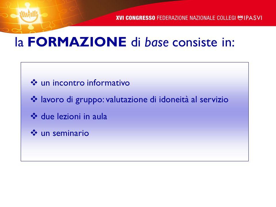 la FORMAZIONE di base consiste in: un incontro informativo lavoro di gruppo: valutazione di idoneità al servizio due lezioni in aula un seminario