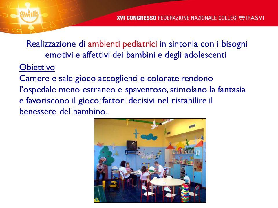 Realizzazione di ambienti pediatrici in sintonia con i bisogni emotivi e affettivi dei bambini e degli adolescenti Obiettivo Camere e sale gioco accog