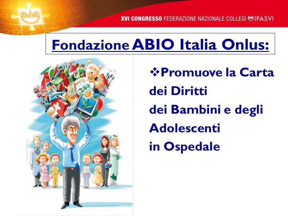 Promuove la Carta dei Diritti dei Bambini e degli Adolescenti in Ospedale Fondazione ABIO Italia Onlus: