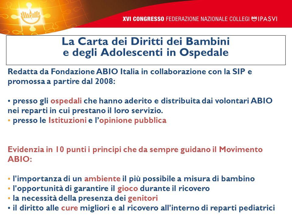 Redatta da Fondazione ABIO Italia in collaborazione con la SIP e promossa a partire dal 2008: presso gli ospedali che hanno aderito e distribuita dai