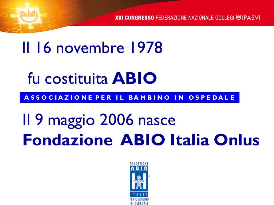 Il 16 novembre 1978 fu costituita ABIO A S S O C I A Z I O N E P E R I L B A M B I N O I N O S P E D A L E Il 9 maggio 2006 nasce Fondazione ABIO Ital