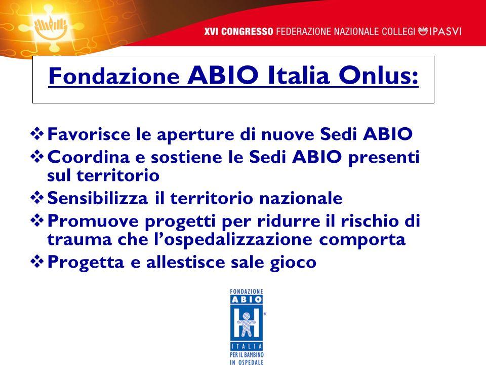 Fondazione ABIO Italia Onlus: Favorisce le aperture di nuove Sedi ABIO Coordina e sostiene le Sedi ABIO presenti sul territorio Sensibilizza il territ