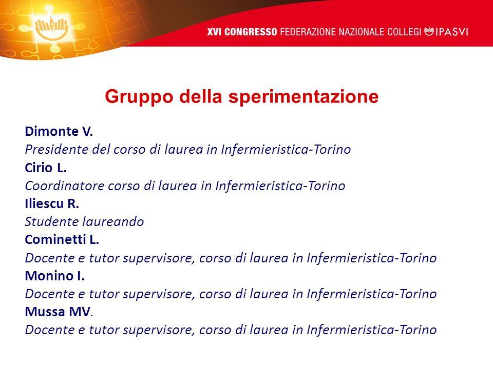 Dimonte V. Presidente del corso di laurea in Infermieristica-Torino Cirio L.