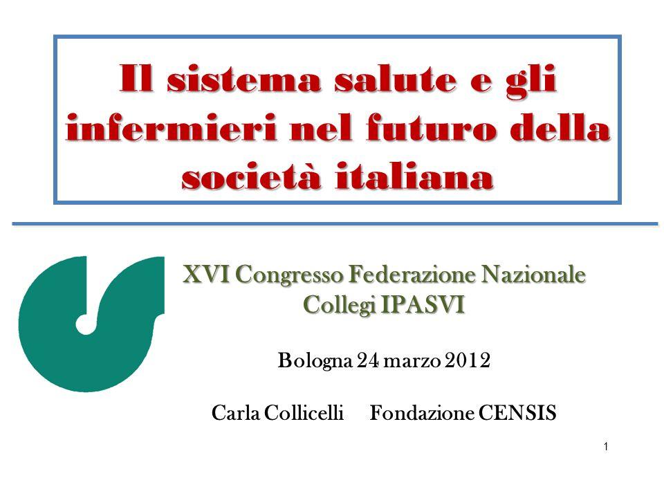 Il sistema salute e gli infermieri nel futuro della società italiana XVI Congresso Federazione Nazionale Collegi IPASVI Bologna 24 marzo 2012 Carla Co