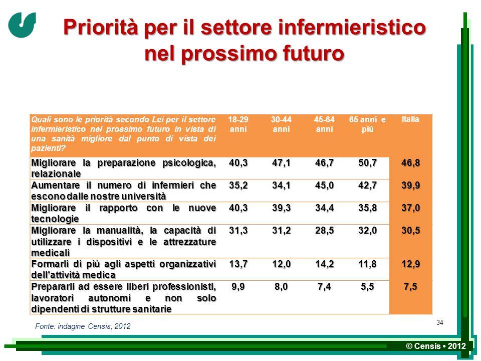 © Censis 2012 Priorità per il settore infermieristico nel prossimo futuro Quali sono le priorità secondo Lei per il settore infermieristico nel prossi