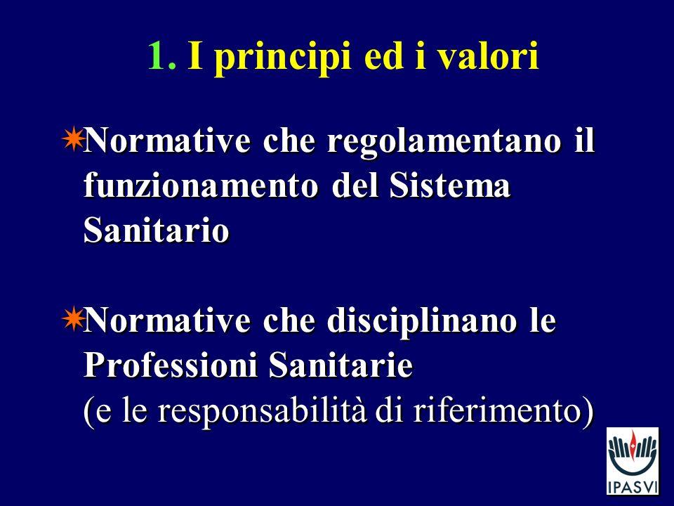 1. I principi ed i valori Normative che regolamentano il funzionamento del Sistema Sanitario Normative che disciplinano le Professioni Sanitarie (e le