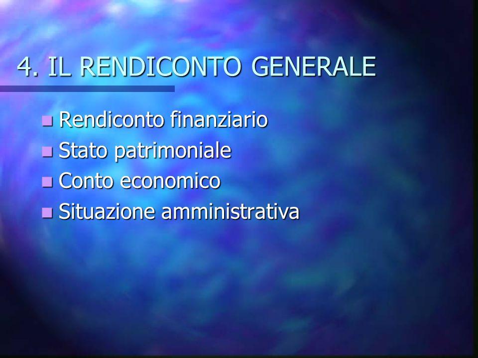 4. IL RENDICONTO GENERALE Rendiconto finanziario Rendiconto finanziario Stato patrimoniale Stato patrimoniale Conto economico Conto economico Situazio