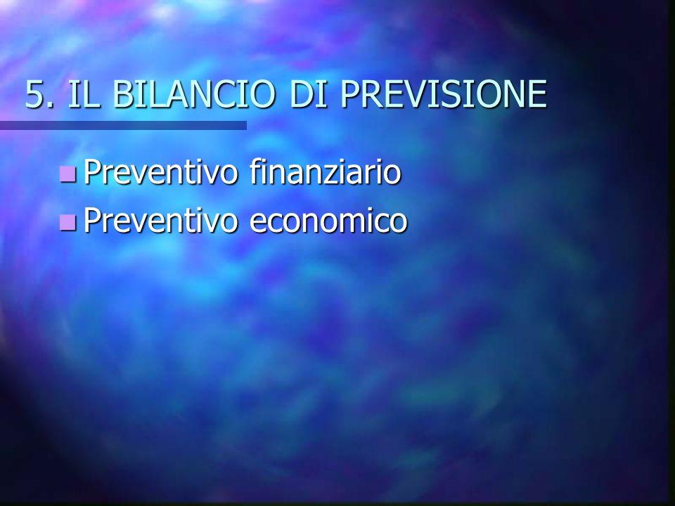 5. IL BILANCIO DI PREVISIONE Preventivo finanziario Preventivo finanziario Preventivo economico Preventivo economico