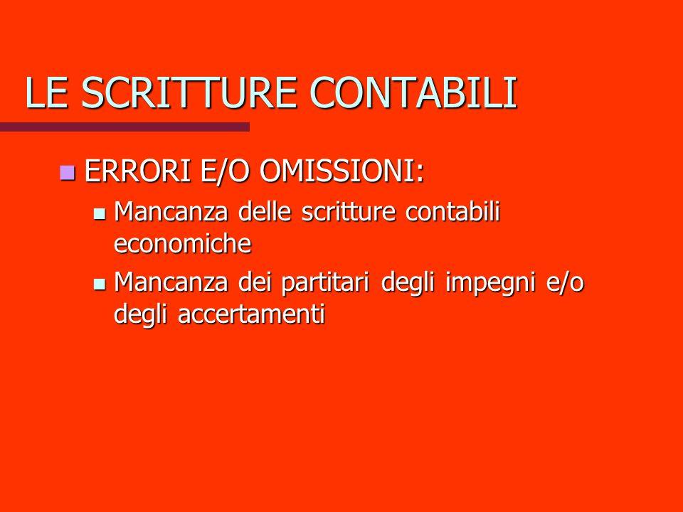 LE SCRITTURE CONTABILI ERRORI E/O OMISSIONI: ERRORI E/O OMISSIONI: Mancanza delle scritture contabili economiche Mancanza delle scritture contabili ec