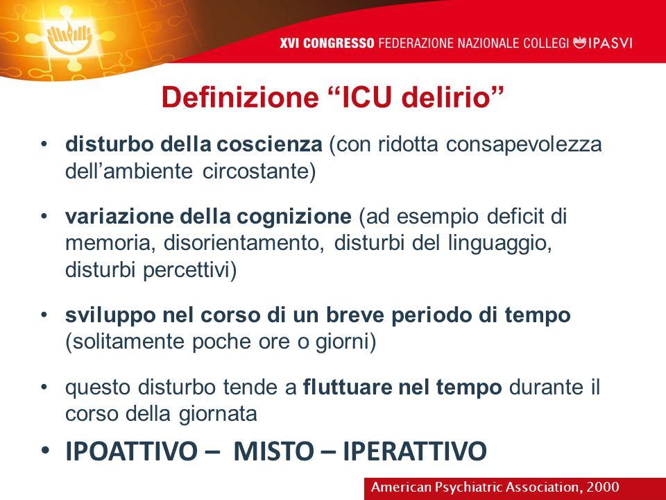Definizione ICU delirio disturbo della coscienza (con ridotta consapevolezza dellambiente circostante) variazione della cognizione (ad esempio deficit