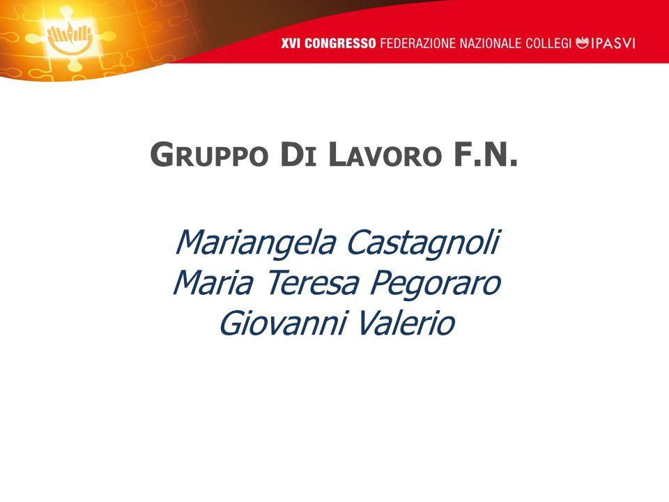 G RUPPO D I L AVORO F.N. Mariangela Castagnoli Maria Teresa Pegoraro Giovanni Valerio