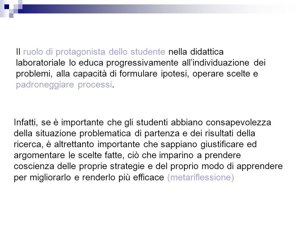 Il ruolo di protagonista dello studente nella didattica laboratoriale lo educa progressivamente allindividuazione dei problemi, alla capacità di formu
