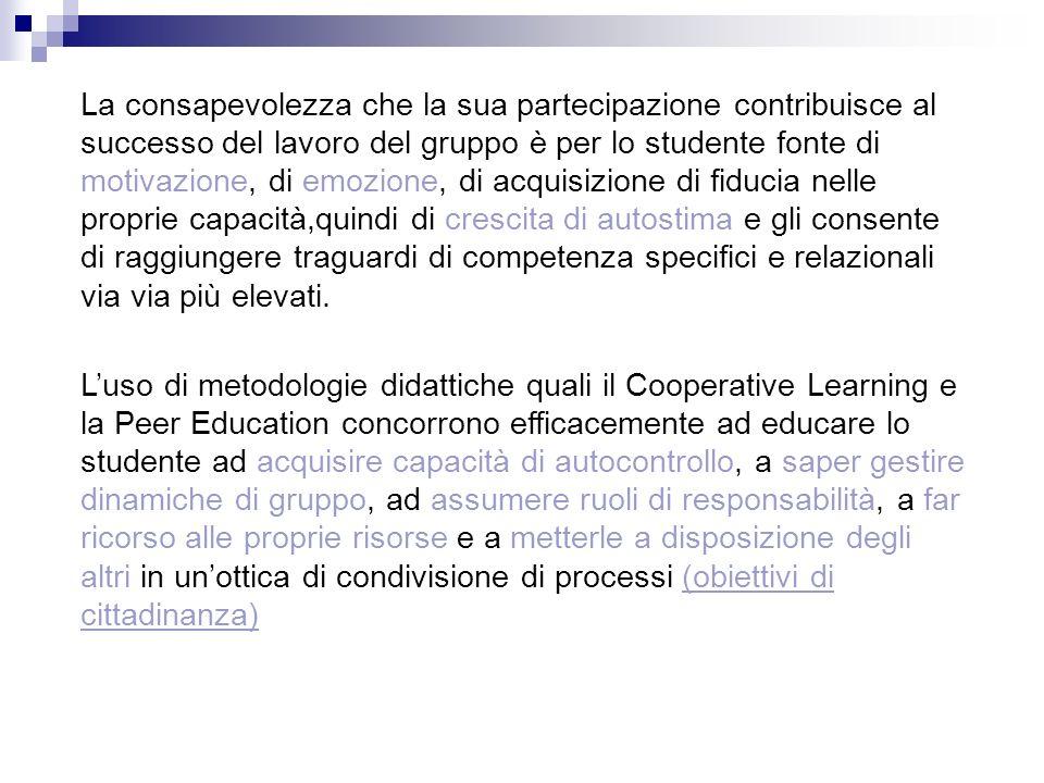 Luso di metodologie didattiche quali il Cooperative Learning e la Peer Education concorrono efficacemente ad educare lo studente ad acquisire capacità