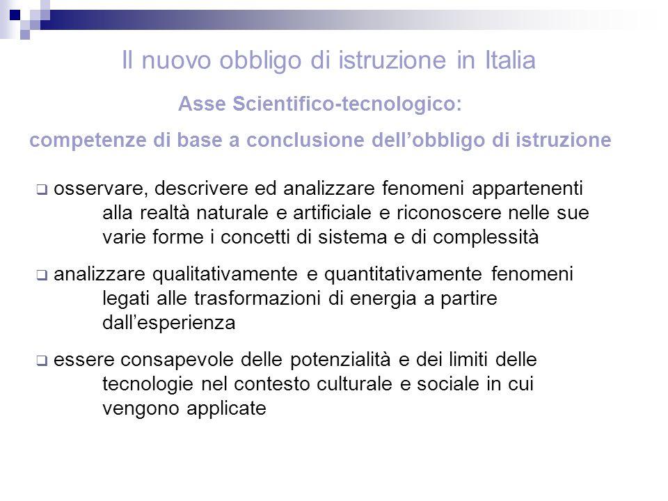 Asse Scientifico-tecnologico: competenze di base a conclusione dellobbligo di istruzione osservare, descrivere ed analizzare fenomeni appartenenti all