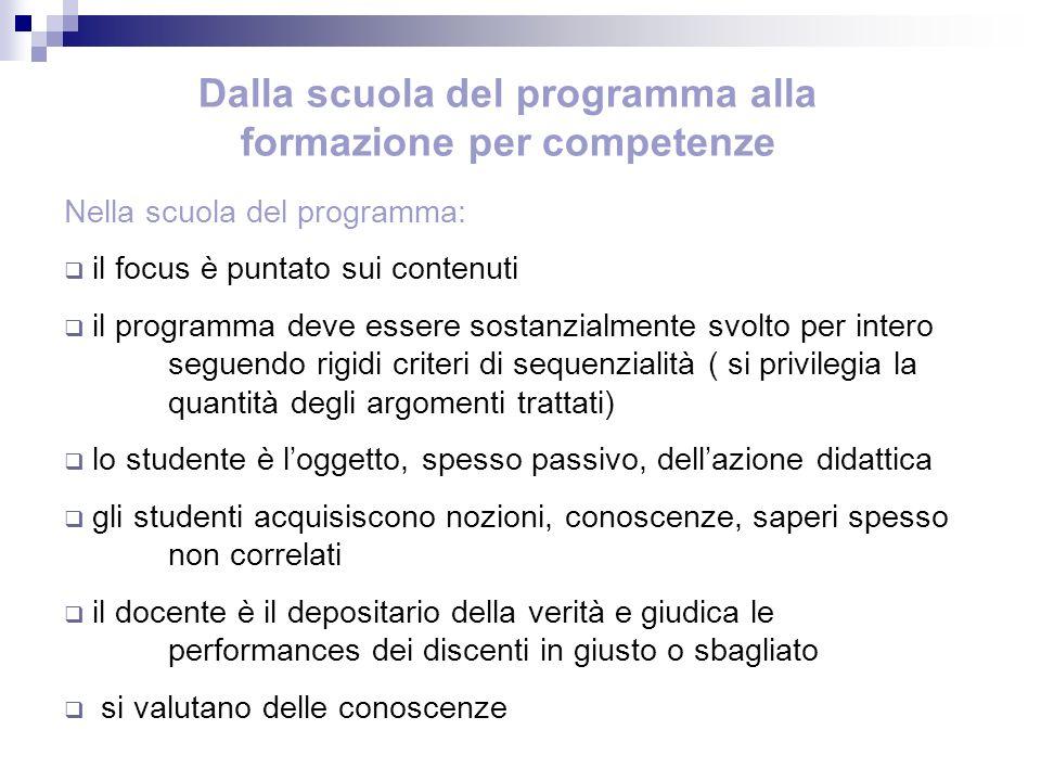 Dalla scuola del programma alla formazione per competenze Nella scuola del programma: il focus è puntato sui contenuti il programma deve essere sostan