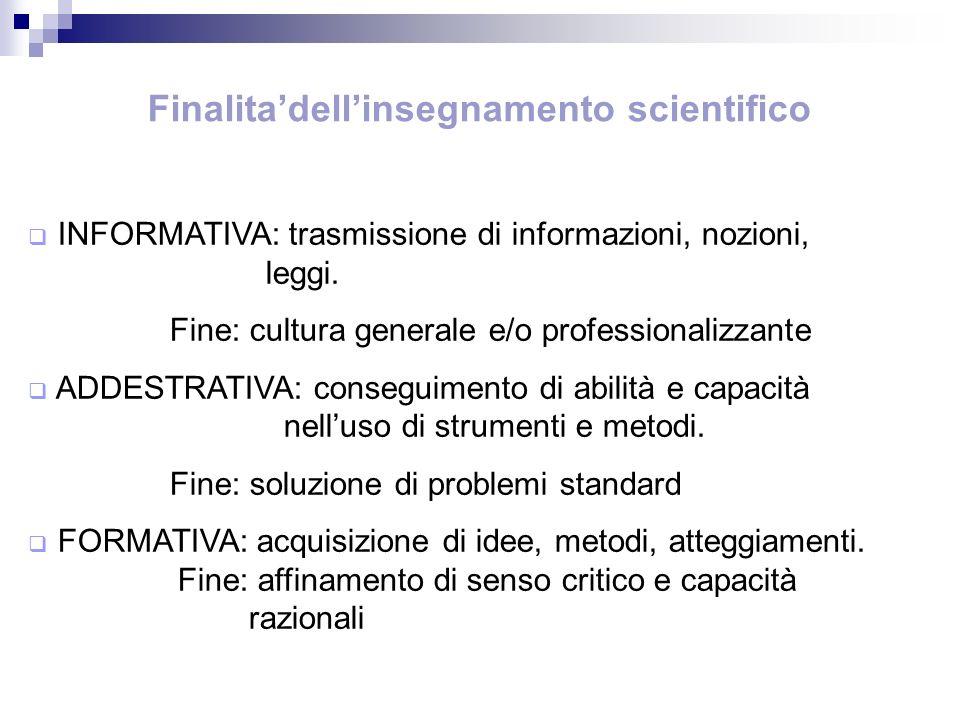 Finalitadellinsegnamento scientifico INFORMATIVA: trasmissione di informazioni, nozioni, leggi. Fine: cultura generale e/o professionalizzante ADDESTR