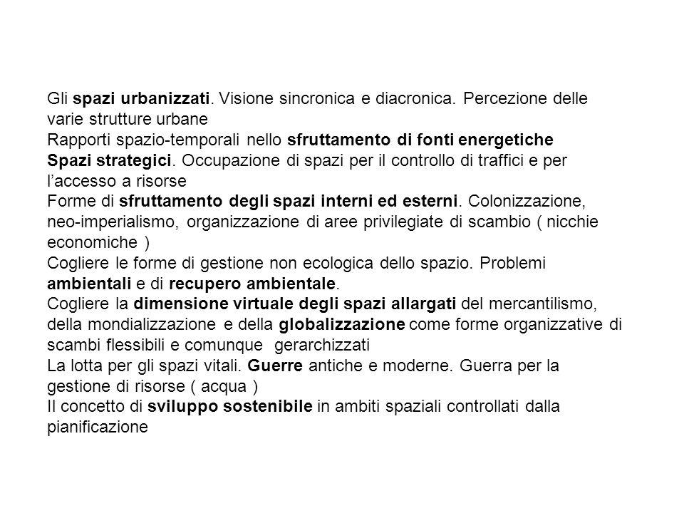 Gli spazi urbanizzati. Visione sincronica e diacronica. Percezione delle varie strutture urbane Rapporti spazio-temporali nello sfruttamento di fonti