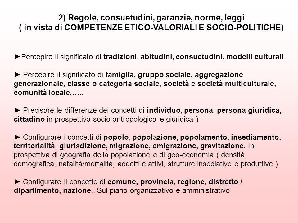 2) Regole, consuetudini, garanzie, norme, leggi ( in vista di COMPETENZE ETICO-VALORIALI E SOCIO-POLITICHE) Percepire il significato di tradizioni, ab