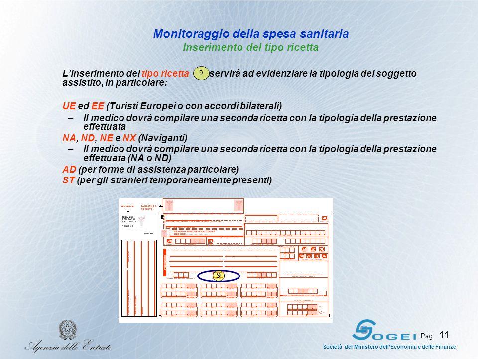 Società del Ministero dellEconomia e delle Finanze Pag. 11 Monitoraggio della spesa sanitaria Inserimento del tipo ricetta Linserimento del tipo ricet