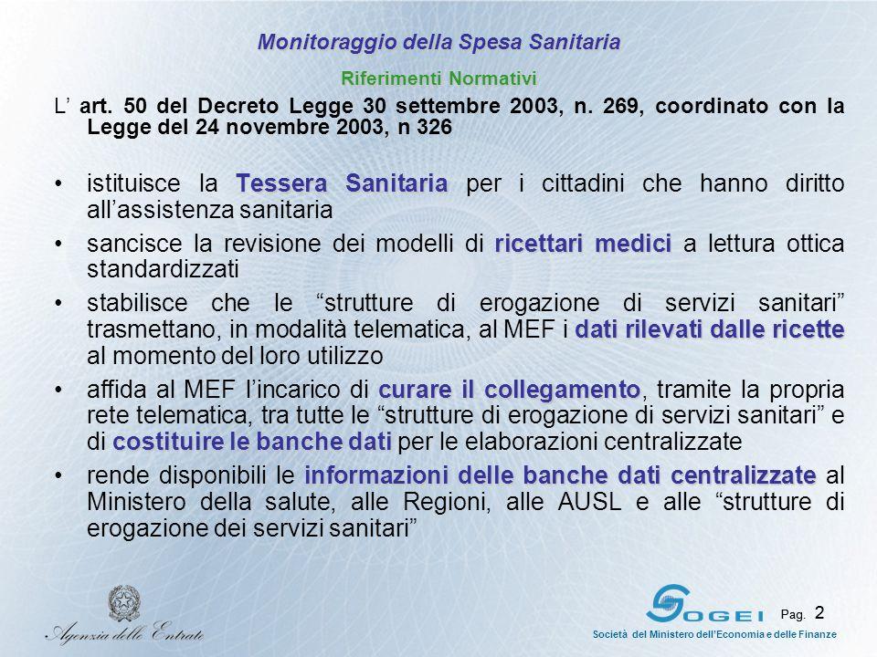 Pag. 2 Società del Ministero dellEconomia e delle Finanze Pag. 2 L art. 50 del Decreto Legge 30 settembre 2003, n. 269, coordinato con la Legge del 24