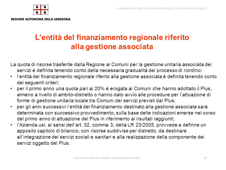 Il welfare locale: dal Piano comunale al Piano Locale Unitario dei Servizi Assessorato Igiene e sanità e dell assistenza sociale29 Poteri sostitutivi ( LR 23/2005 – art.