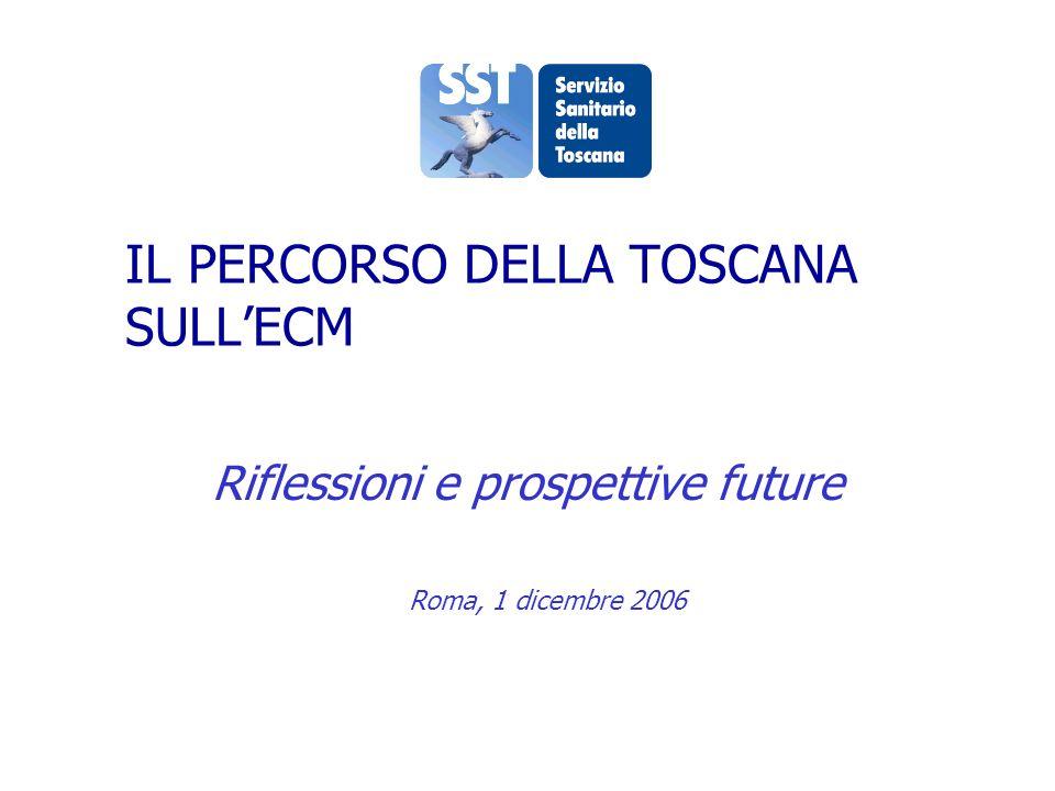 IL PERCORSO DELLA TOSCANA SULLECM Riflessioni e prospettive future Roma, 1 dicembre 2006