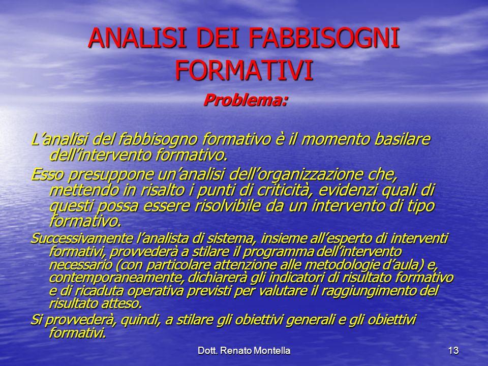 Dott. Renato Montella13 ANALISI DEI FABBISOGNI FORMATIVI Problema: Lanalisi del fabbisogno formativo è il momento basilare dellintervento formativo. E