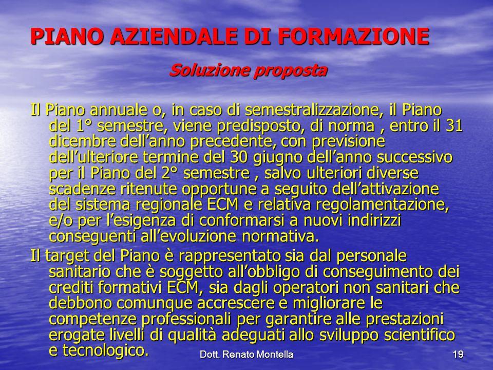 Dott. Renato Montella19 PIANO AZIENDALE DI FORMAZIONE Soluzione proposta Il Piano annuale o, in caso di semestralizzazione, il Piano del 1° semestre,