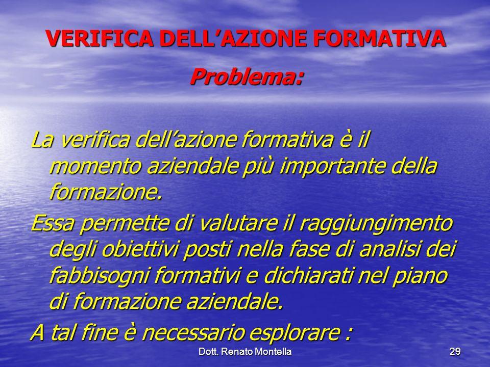 Dott. Renato Montella29 VERIFICA DELLAZIONE FORMATIVA Problema: La verifica dellazione formativa è il momento aziendale più importante della formazion