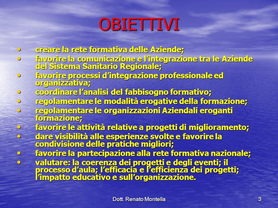 Dott. Renato Montella3 OBIETTIVI creare la rete formativa delle Aziende; creare la rete formativa delle Aziende; favorire la comunicazione e lintegraz