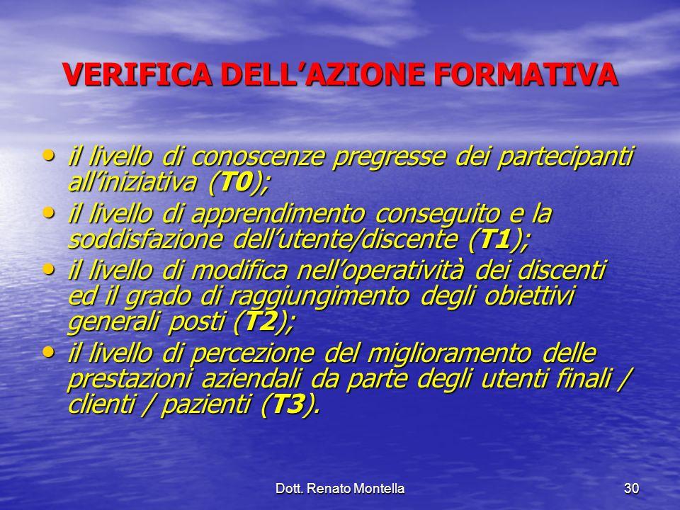 Dott. Renato Montella30 VERIFICA DELLAZIONE FORMATIVA il livello di conoscenze pregresse dei partecipanti alliniziativa (T0); il livello di conoscenze