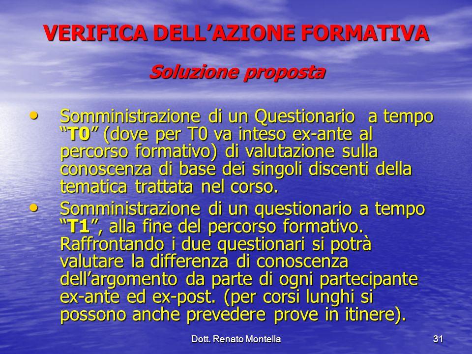 Dott. Renato Montella31 VERIFICA DELLAZIONE FORMATIVA Soluzione proposta Somministrazione di un Questionario a tempoT0 (dove per T0 va inteso ex-ante