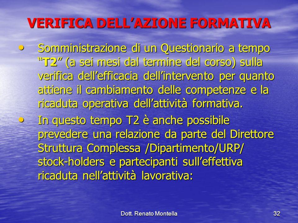 Dott. Renato Montella32 VERIFICA DELLAZIONE FORMATIVA Somministrazione di un Questionario a tempoT2 (a sei mesi dal termine del corso) sulla verifica