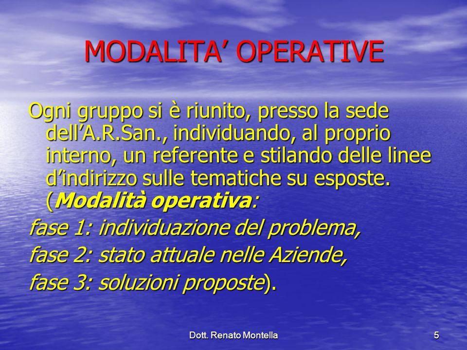 Dott. Renato Montella5 MODALITA OPERATIVE Ogni gruppo si è riunito, presso la sede dellA.R.San., individuando, al proprio interno, un referente e stil