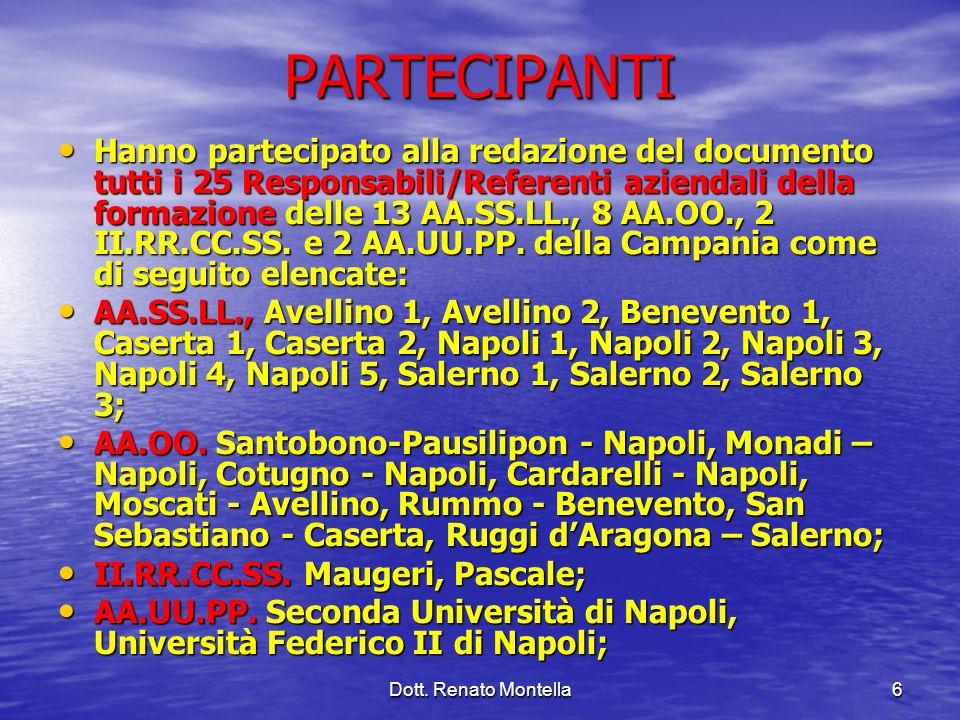 Dott. Renato Montella6 PARTECIPANTI Hanno partecipato alla redazione del documento tutti i 25 Responsabili/Referenti aziendali della formazione delle