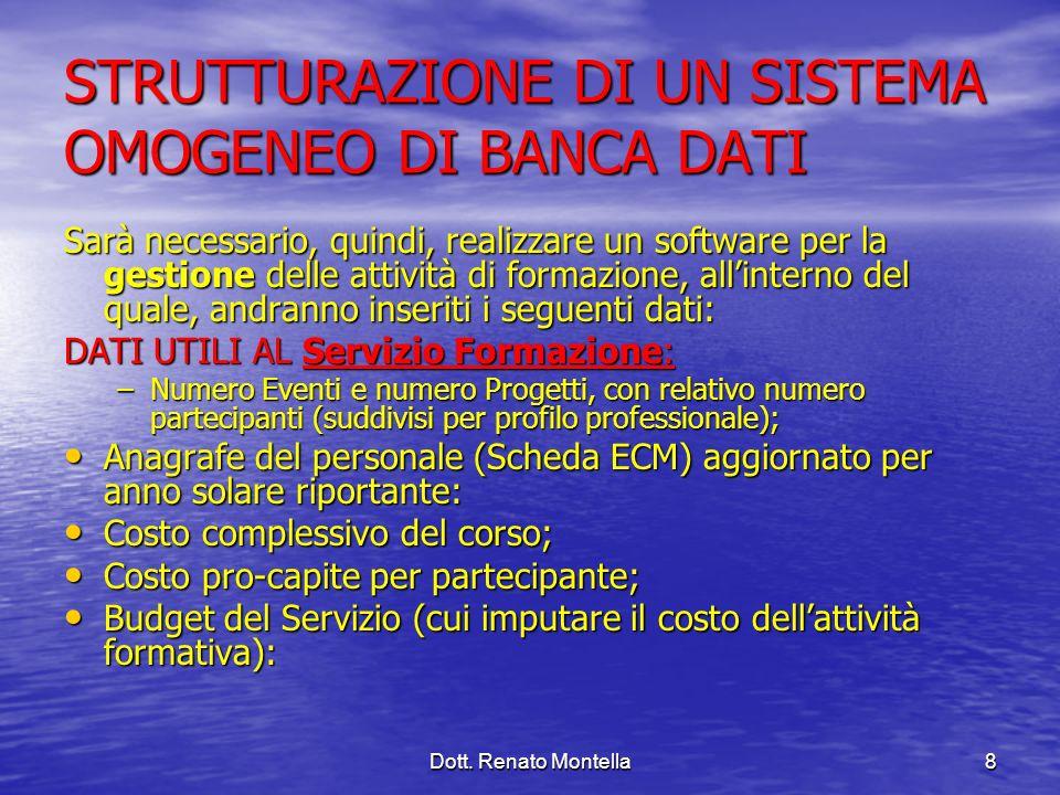 Dott. Renato Montella8 STRUTTURAZIONE DI UN SISTEMA OMOGENEO DI BANCA DATI Sarà necessario, quindi, realizzare un software per la gestione delle attiv
