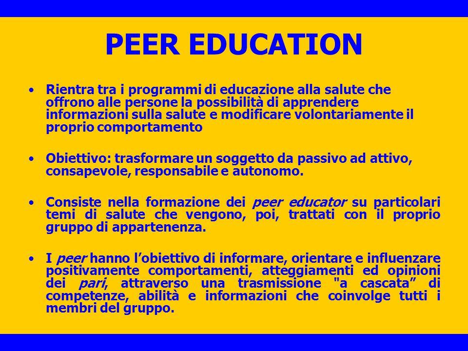 PEER EDUCATION La peer education è uno dei metodi più diffusi per la promozione della salute e per la prevenzione dei comportamenti a rischio in età adolescenziale in quanto i peer educator agiscono da facilitatori di cambiamento nei confronti dei lori pari.