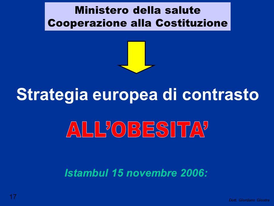 Ministero della salute Cooperazione alla Costituzione Strategia europea di contrasto Istambul 15 novembre 2006: 17 Dott. Giordano Giostra