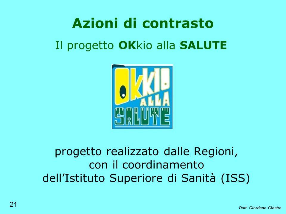 Il progetto OKkio alla SALUTE progetto realizzato dalle Regioni, con il coordinamento dellIstituto Superiore di Sanità (ISS) Azioni di contrasto 21 Do
