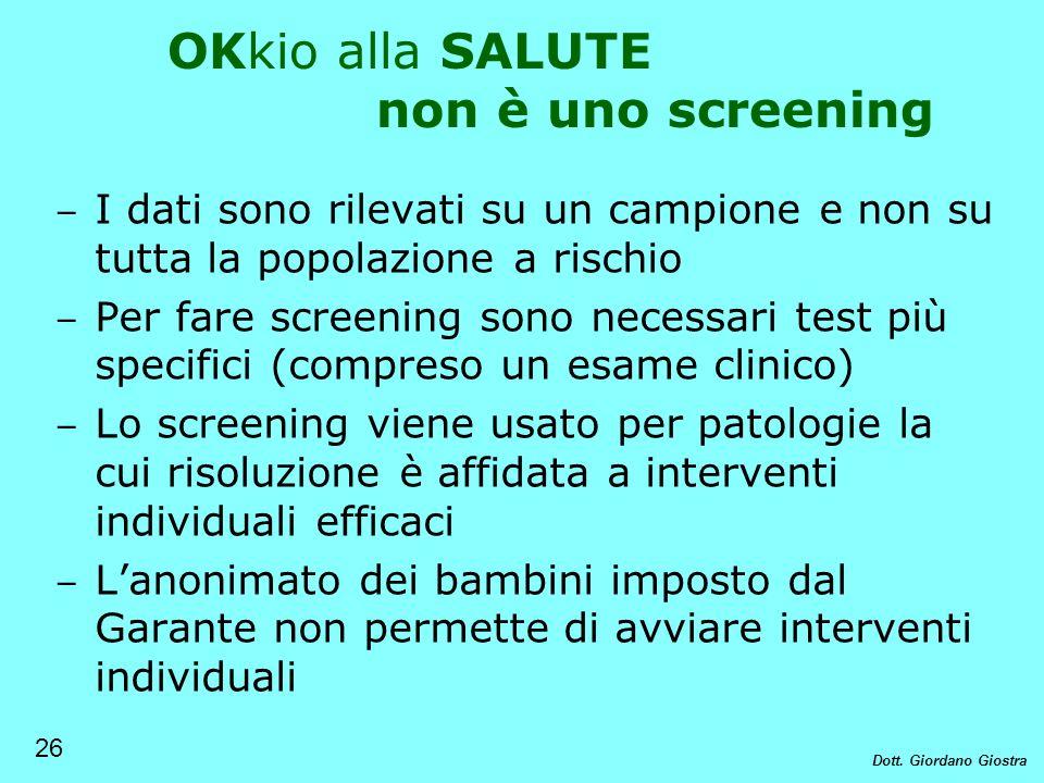 OKkio alla SALUTE non è uno screening I dati sono rilevati su un campione e non su tutta la popolazione a rischio Per fare screening sono necessari te