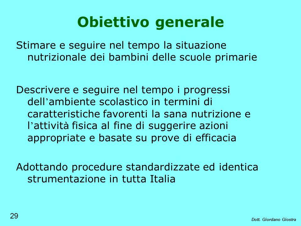 Obiettivo generale Stimare e seguire nel tempo la situazione nutrizionale dei bambini delle scuole primarie Descrivere e seguire nel tempo i progressi
