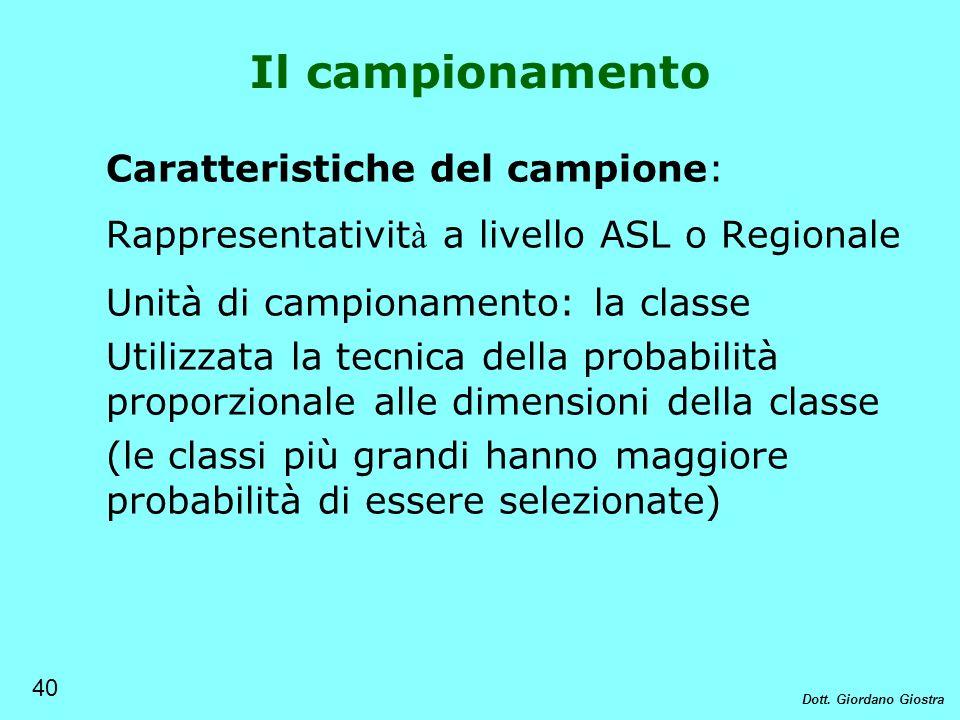 Caratteristiche del campione: Rappresentativit à a livello ASL o Regionale Unità di campionamento: la classe Utilizzata la tecnica della probabilità p