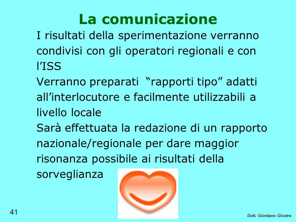 La comunicazione I risultati della sperimentazione verranno condivisi con gli operatori regionali e con lISS Verranno preparati rapporti tipo adatti a