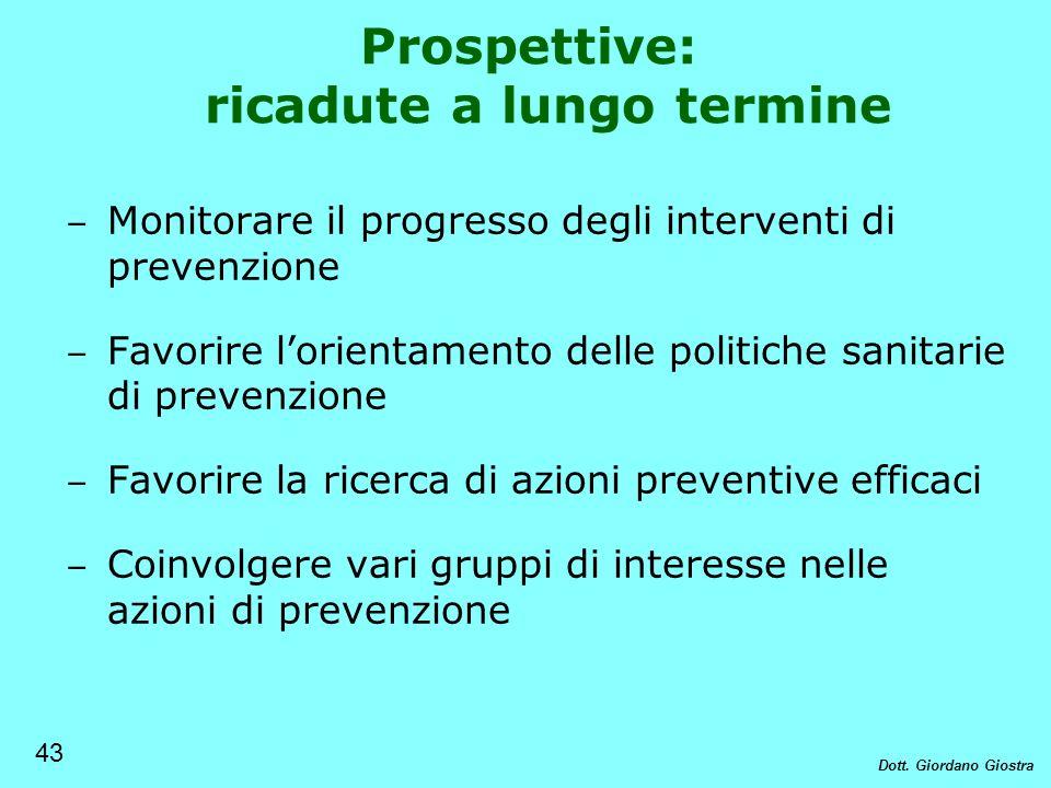 Prospettive: ricadute a lungo termine Monitorare il progresso degli interventi di prevenzione Favorire lorientamento delle politiche sanitarie di prev