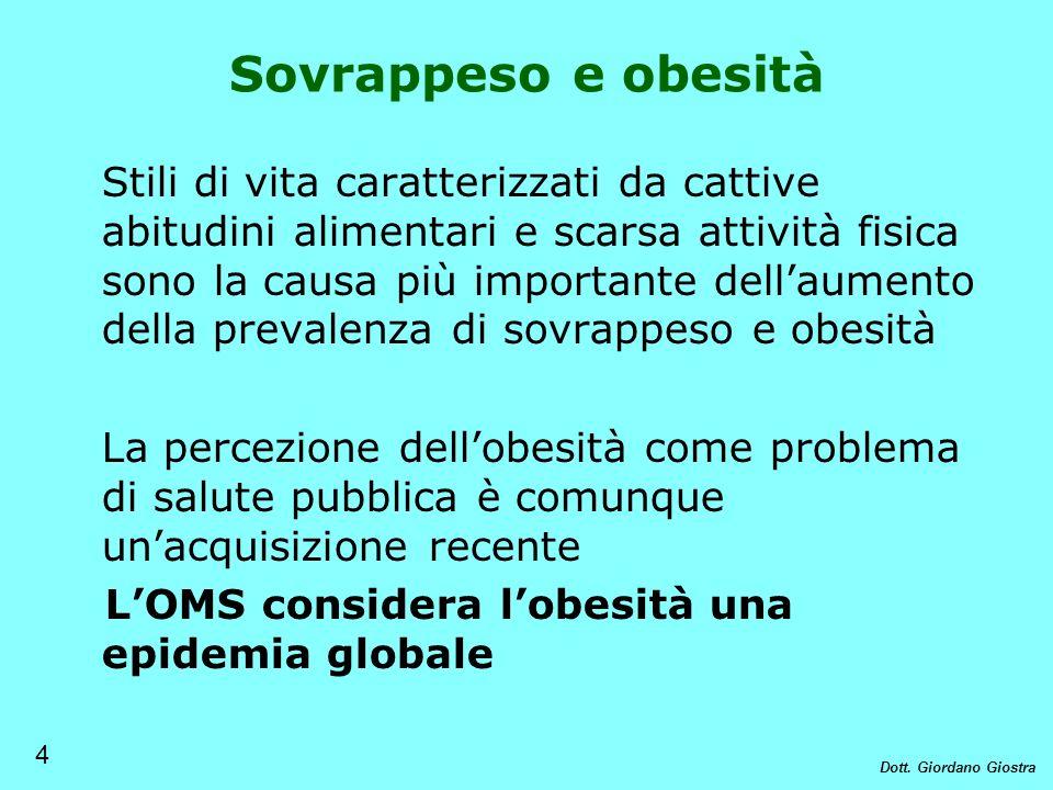 Stili di vita caratterizzati da cattive abitudini alimentari e scarsa attività fisica sono la causa più importante dellaumento della prevalenza di sov