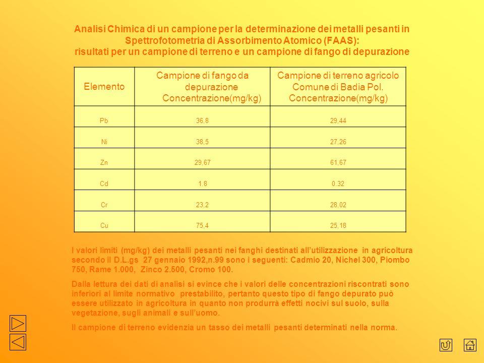 Analisi Chimica di un campione per la determinazione dei metalli pesanti in Spettrofotometria di Assorbimento Atomico (FAAS): risultati per un campion