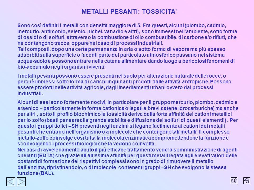 METALLI PESANTI: TOSSICITA Sono così definiti i metalli con densità maggiore di 5. Fra questi, alcuni (piombo, cadmio, mercurio, antimonio, selenio, n