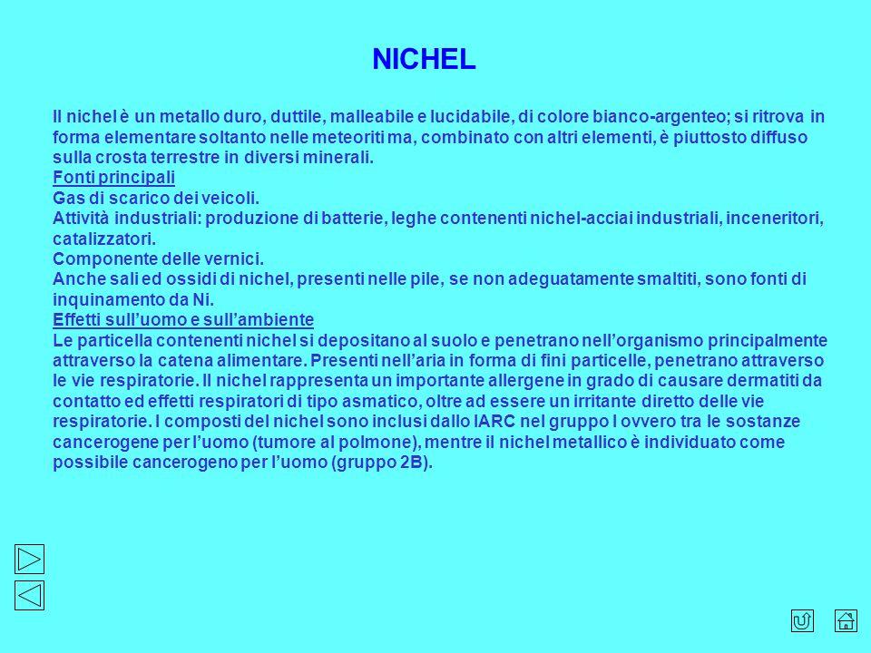 Il nichel è un metallo duro, duttile, malleabile e lucidabile, di colore bianco-argenteo; si ritrova in forma elementare soltanto nelle meteoriti ma,