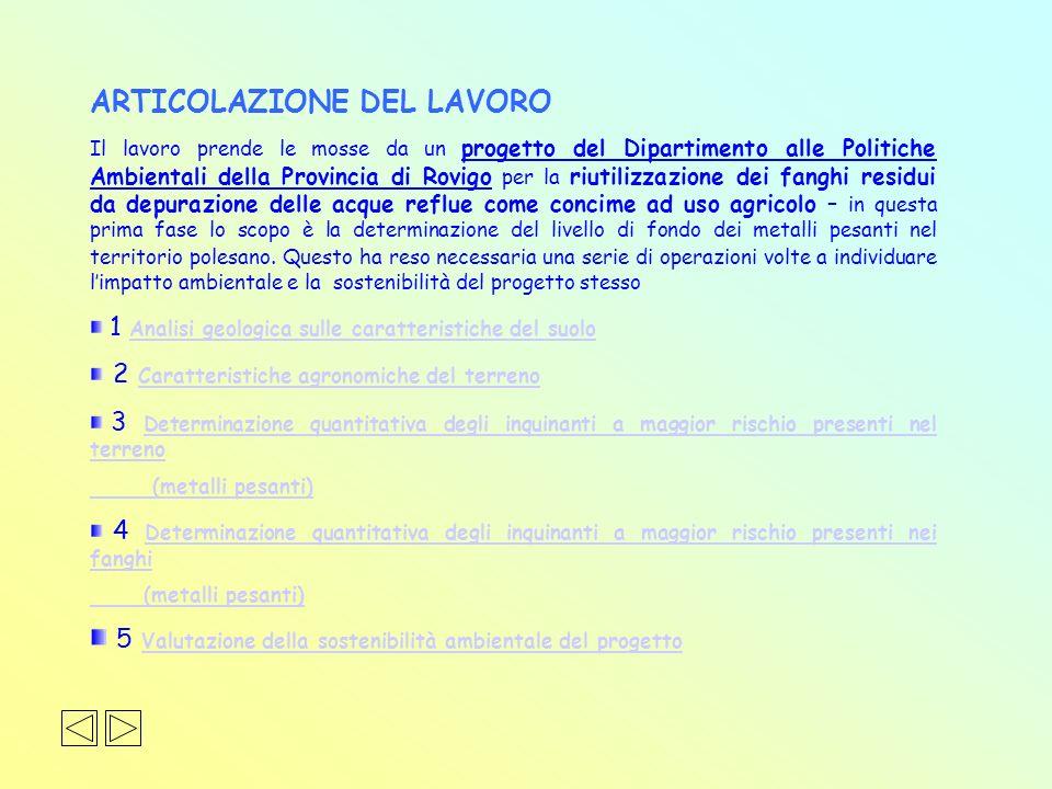 ARTICOLAZIONE DEL LAVORO Il lavoro prende le mosse da un progetto del Dipartimento alle Politiche Ambientali della Provincia di Rovigo per la riutiliz